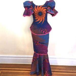 Dresses & Skirts - African Two Piece Set Skirt and Top -sunburst- Sm